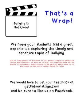 Bullying is NOT Okay - Readers' Theater Play - for early readers