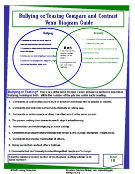 Bullying or Teasing  Venn - Math and Literacy