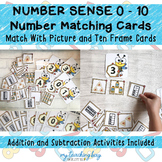0 to 10 Number Matching Cards with Picture and Ten Frame Cards (Bumble Bee)