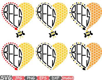 Bumble Bee Bees Honey Heart Silhouette SVG clipart Bumblebees School Spirit 730s