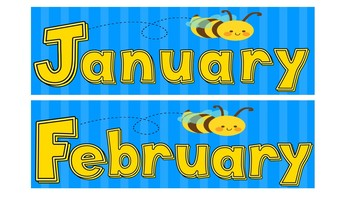 Bumble Bee Calendar Months of Year, Days of Week, Numbers Blue & Yellow Theme