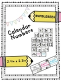 Bumble Bee Calendar Numbers