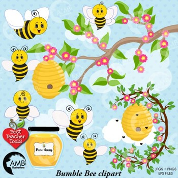 Bumble Bee Clipart, Honey bees clipart, Bee Clipart, Busy Bee Clip Art, AMB-1053