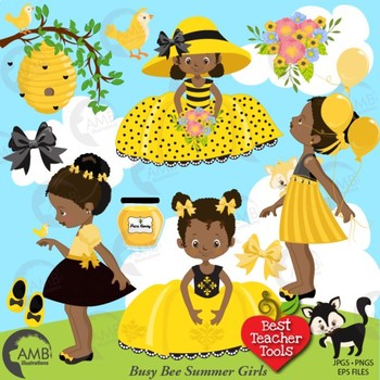Bumble Bee Clipart, Little African American Girl Bee clipart, AMB-1599