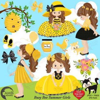 Bumble Bee Clipart and Papers Bundle, Little Girl Bee clipart, AMB-1617