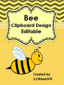 Bumble Bee Clipboard Decorative Set~Editable