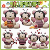 BUNDLED SET - Bumble Bee Mine Bears Clip Art & Digital Stamp Bundle
