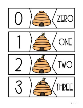 Bumble Bee Number Puzzles 1-10 Math Center