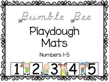 Springtime-Summertime Bumble Bee Playdough Mats -Numbers 1-5