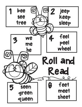 Bumble Bee Roll and Read Long e (e, ee)