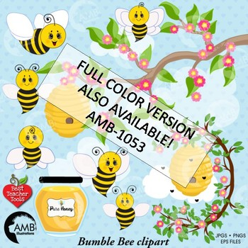 Bumble Bee Stamp Clipart, Honey Bee Blackline Clip Art, AMB-1021