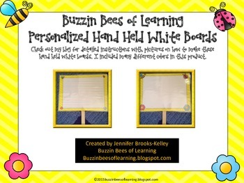 Bumble Bee Theme Hand Held White Boards With Primary Lines