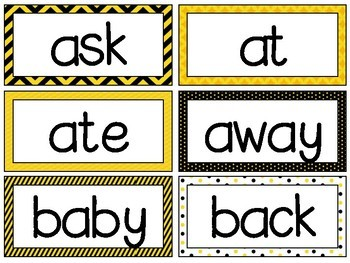 Bumble Bee Theme [Word Wall and Headers] Fry & Dolch Sight Words Flash Cards