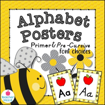 Bumble Bee Themed Alphabet Posters DNealian Font