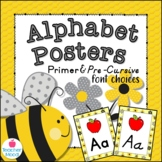 Bumble Bee Themed Classroom Alphabet Posters DNealian Font