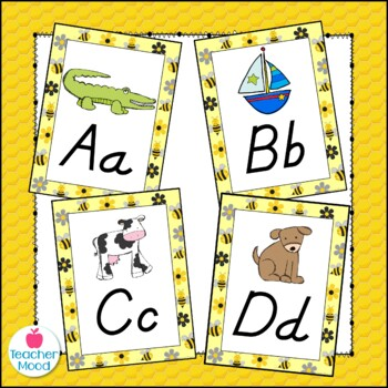 Bumble Bee Themed Alphabet Posters Zaner Bloser Font