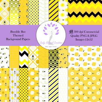 Bumble Bee Themed Background Papers