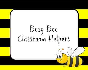 Bumble Bee Themed Classroom Jobs Bundle