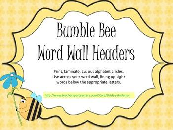 Bumble Bee- Word Wall Headers