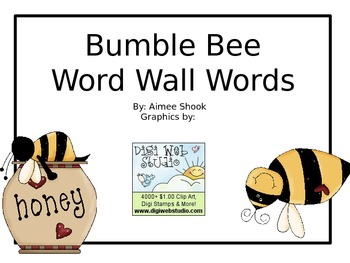 Bumble Bee Word Wall Words