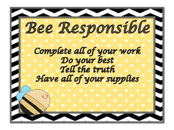 Bumble Bee and Polka Dots Themed Classroom Rules