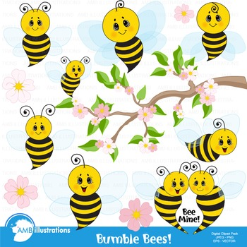 Bumble Bee Clipart, Honey bees clipart, Bee Clipart, Busy Bee Clip Art, AMB-921