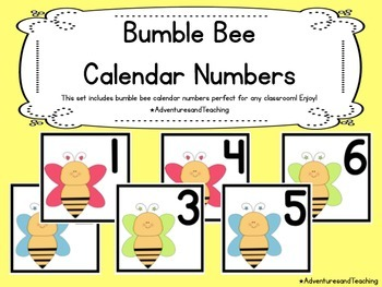 Bumble Bees Calendar Numbers