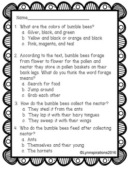 Bumble Bees Reading Comprehension