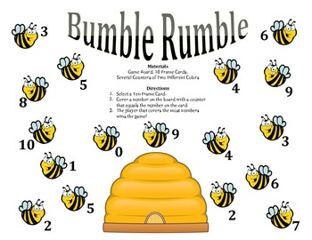 Bumble Rumble - A 2-Player Game to Identify Numbers using Ten Frames