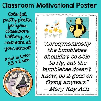 Back to School BumbleBee Quotation Motivational Quote mini Poster Perseverance