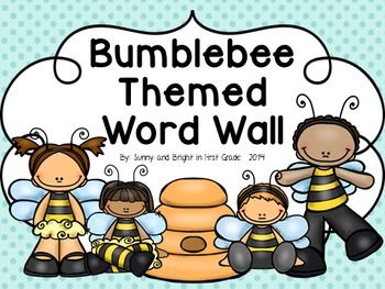 Bumblebee (Busy Bee) Themed Word Wall Cards and Headers- EDITABLE