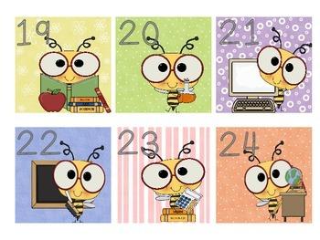 Bumblebee Calendar or student numbers 1 - 31