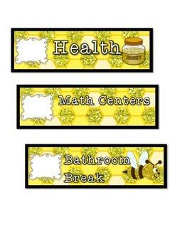 Bumblebee Classroom Schedule Cards