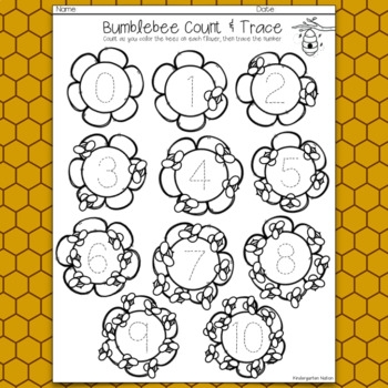 Spring Count & Trace ~ Color, Count & Trace The Numbers (0-10)
