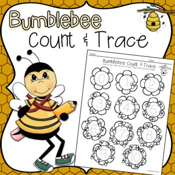 Bumblebee Count & Trace Coloring Page, Color, Count & Trace Numbers 0-10