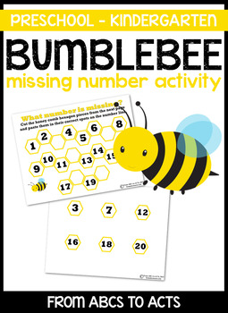 Bumblebee Missing Number Activity - Counting Practice 1-20