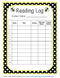 Bumblebee Theme Reading Log