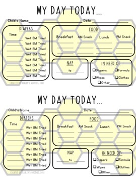Bumblebee Themed Childcare Daily Reports  (Daycare)