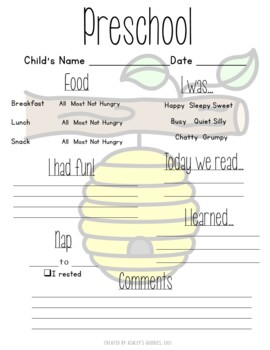 Bumblebee Themed Childcare Daily Reports with Matching Newsletters  (Daycare)
