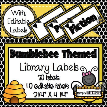 Classroom Library Labels Bumblebee Themed {Editable)