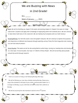 Bumblebee Weekly Newsletter PPNT Template