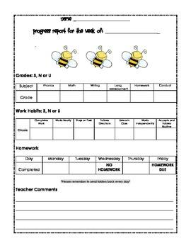 Bumblebee Weekly Progress Chart