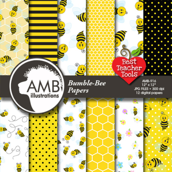 Digital Papers - Bumblebee and Honeycomb digital paper, Ho