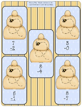 Bumbly Bears Subtraction - 1st Grade - Set #1 File Folder Game