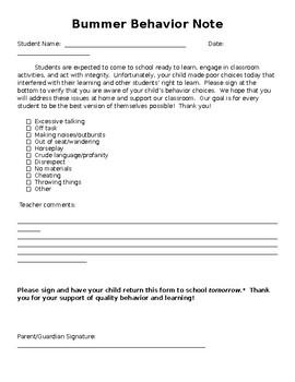 Bummer Behavior Sheet