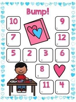 Bump! Bilingual Valentine's Day Addition Freebie