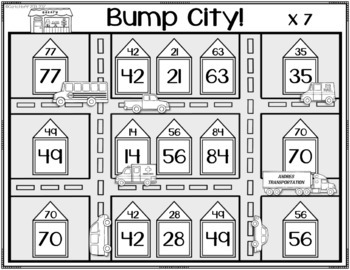 Bump City!  Multiplication Bump - Facts Through 12 x 12