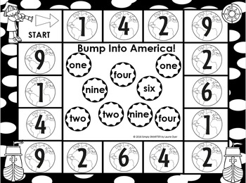 Bump Into America:  NO PREP Christopher Columbus Number Word Board Game
