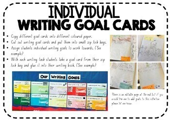 Bump It Up Wall Writing Goal Feedback Cards