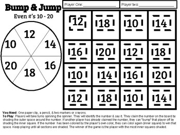 Bump & Jump Even Numbers 10 - 20